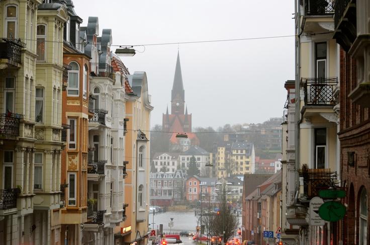 Toosbüystraße, Flensburg,   Looking down onto the Flensburger Förde