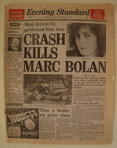 Marc Bolan's 1977 Car Accident .