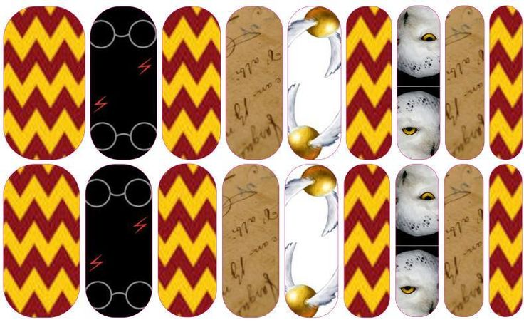 Jamberry Harry Potter inspired custom wraps made in the Nail Art Studio!   Design your own here: http://www.kimd.jamberrynails.net/nas/