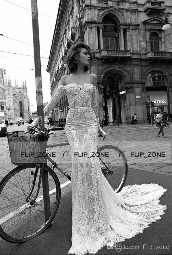liz martinez 2016 Spring Lace Mermaid Wedding Dresses with Sexy Off Shoulder Illusion Long Sleeve Applique Long 2016 Trumpet Bridal Gowns