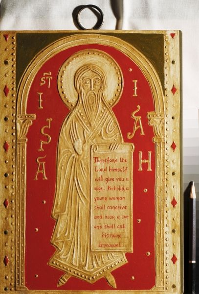 Relief icon of the holy prophet Isaiah. 2014