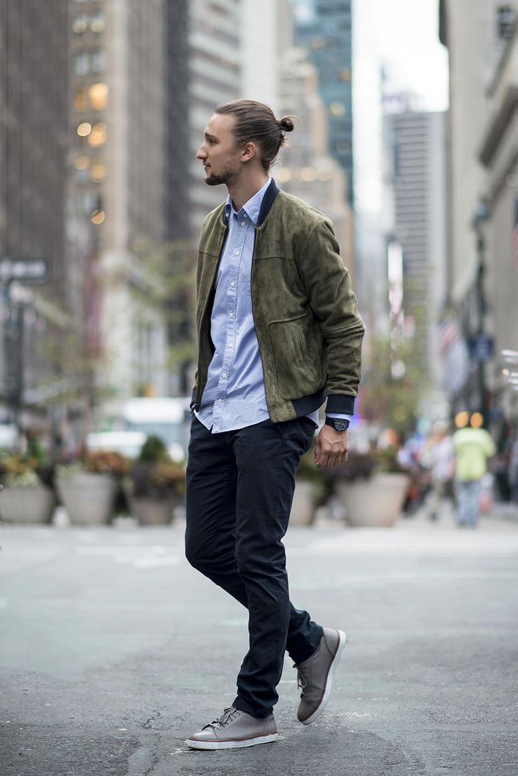 Menu0026#39;s Olive Bomber Jacket Light Blue Dress Shirt Navy Chinos Grey Leather Low Top Sneakers