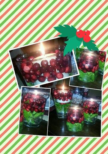 Fresh cranberries, Leland Cyprus sprigs, candles.. Christmas spirit