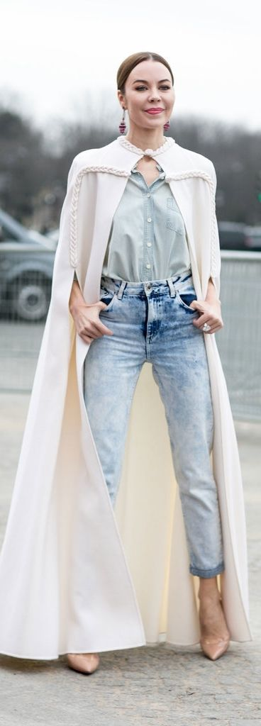 Paris Fashion Week street style: high waisted jeans, nude pumps and a floor length white cape