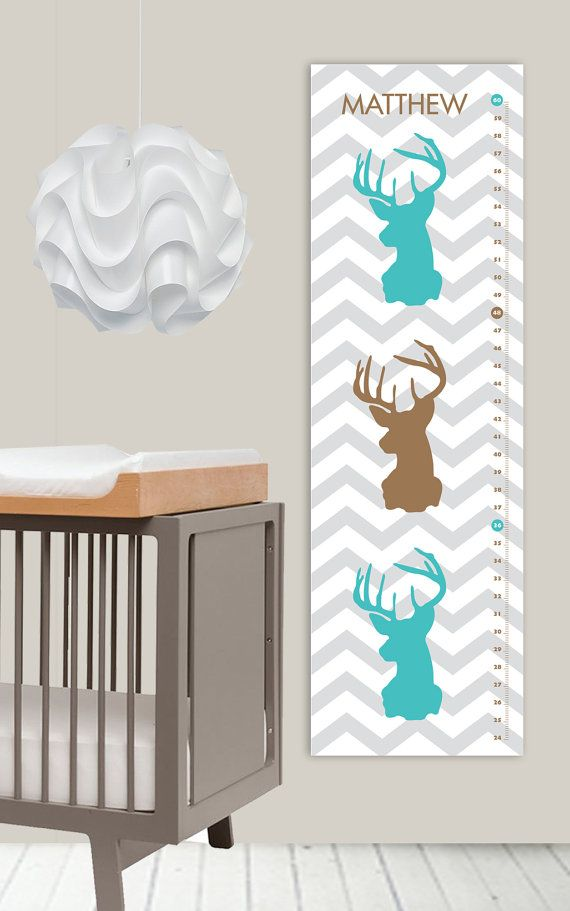 A #forest nursery theme is one of the most popular #nursery themes that you can choose for your little baby room as most babies naturally love to look at animals.   Oh Deer Growth Chart  Modern Nursery  Chevron by giraffesnstuff, $35.00