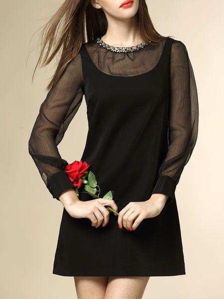 Paneled Beaded Silk-blend Mini Dress