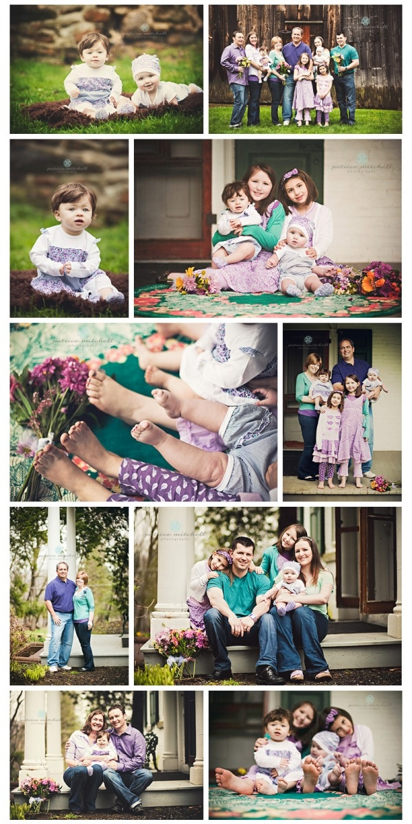 Extended family photo session from Patrice Mitchell Photography wearing purples & blues.