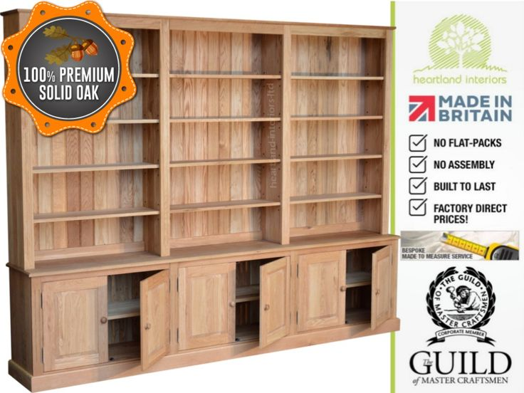 Traditional 7ft x 9ft Solid Oak Bookcase with Cupboards BK-79OK