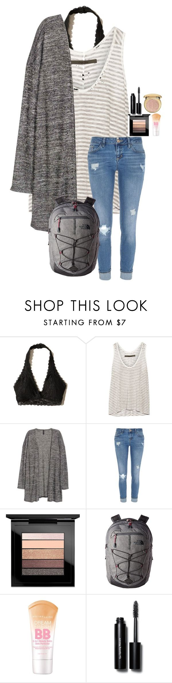 """"""""""" by amaya-leigh ❤ liked on Polyvore featuring Hollister Co., Enza Costa, River Island, MAC Cosmetics, The North Face, Maybelline, Bobbi Brown Cosmetics and Christian Dior"""