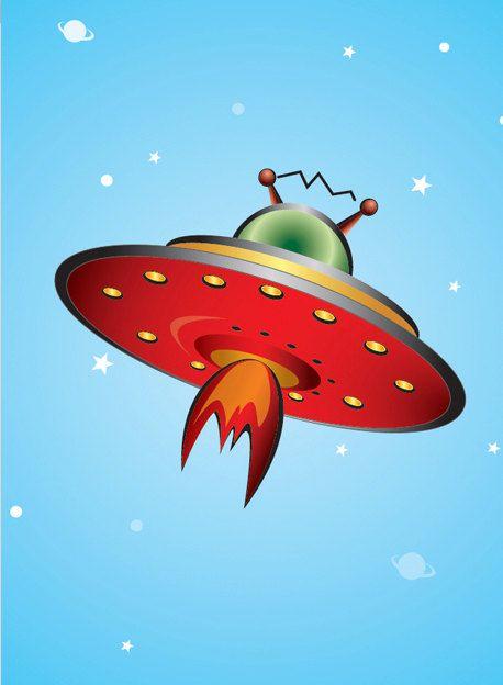 Retro Rocket Art  Retro inspired Flying Saucer by DavidLstudio