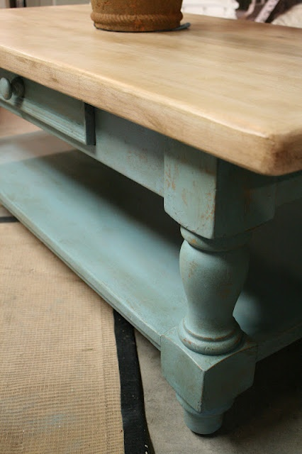 provence base, natural wood top.  (perhaps a whitewash or dry brush top would look good too)