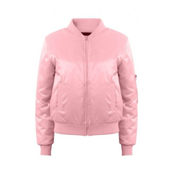 Classic Satin Bomber- Pink ($78) ❤ liked on Polyvore featuring outerwear, jackets, red jacket, pink jacket, pink satin jacket, red flight jacket and long sleeve jacket
