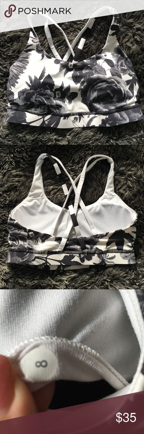 Lululemon energy sports bra Worn only once, black and white floral patterned sports bra. lululemon athletica Other