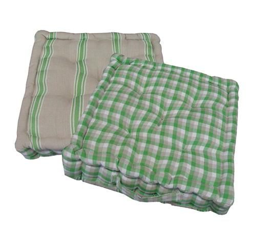 """15"""""""" Plush Green White and Beige Plaid and Striped Reversible Indoor Chair Cushion"""