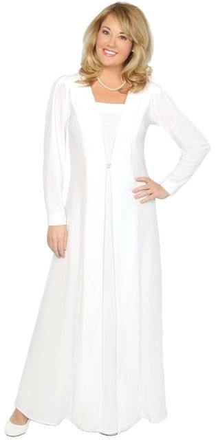 White installation dresses for the Order of the Eastern Star.  Affordable formal wear in both regular and plus sizes.