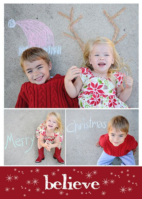 Christmas Card photo - chalk drawings in my driveway