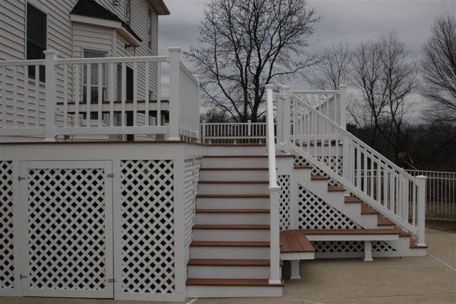 Dual Stairs Off Deck Nj Outdoor Steps With Railing