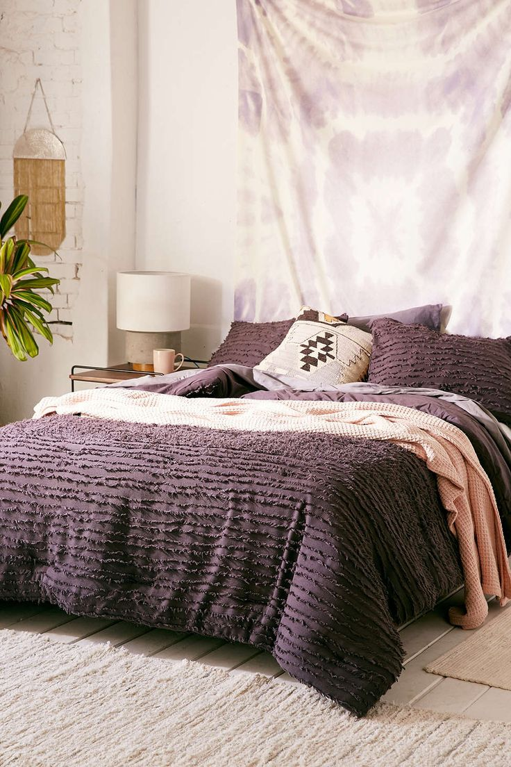 Eyelash Fringe Comforter... want a solid colored comforter, preferably mauve, dusty purple, or blush