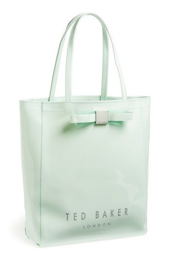 $60, Mint Print Leather Tote Bag: Bow Icon Tote Mint by Ted Baker London. Sold by Nordstrom. Click for more info: http://lookastic.com/women/shop_items/115414/redirect