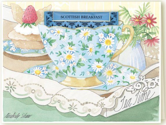 'Tea Time' teacup painted with white daisies on a blue ...