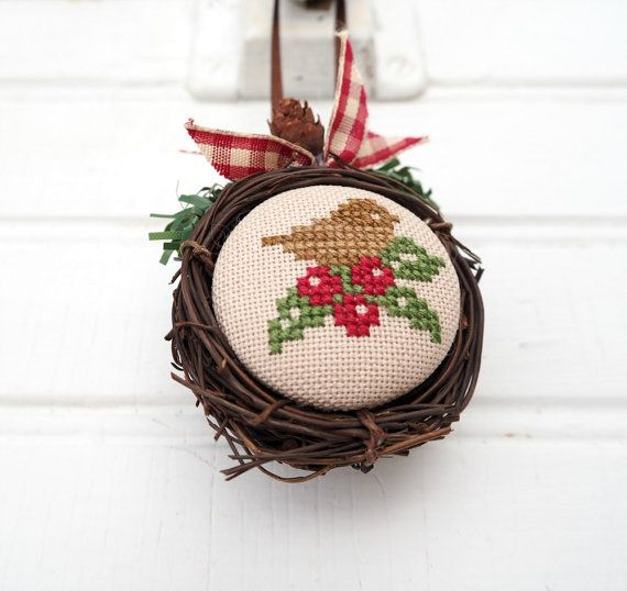 Sparrow and Holly Bird Nest Ornament by SnowBerryNeedleArts