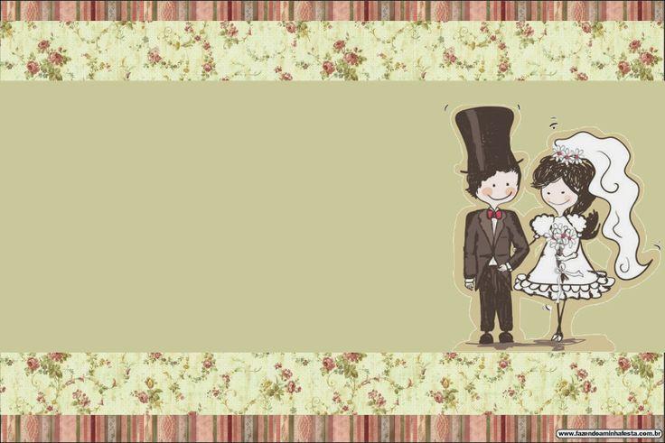 Bodas: Pareja con fondo provenzal. Tarjetas o Invitaciones para Imprimir Gratis.
