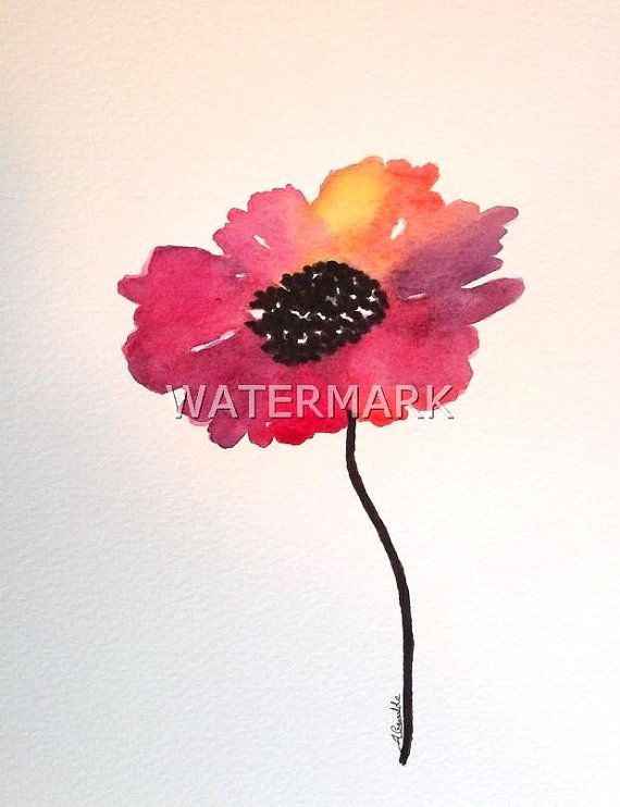 Abstract Cosmos flower , original watercolour (not print) on 240g paper approx: 7.7 x 6inch / 19.5 x 15cm. FREE SHIPPING $20.00 USD