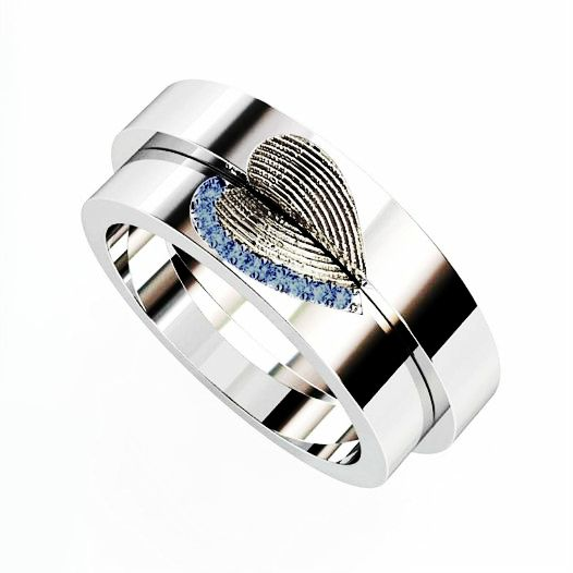 Do you love these custom matching wedding rings with fingerprints and sapphires? ❤ https://www.brilliance.com/wedding-rings