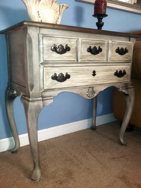 Queen Anne Style Accent Table With Cherry Wood And Marble Top   Shabby Chic Side  Table