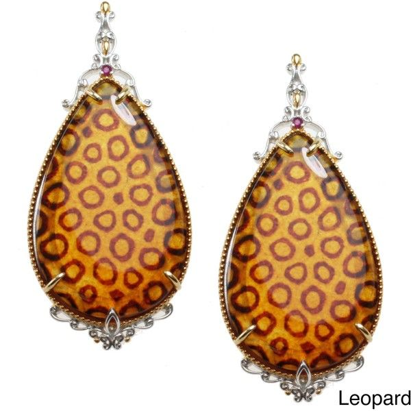 Michael Valitutti Two-tone Carved 'Animal-print' Amber and Ruby... ($197) ❤ liked on Polyvore featuring jewelry, earrings, brown, long dangle earrings, animal print jewelry, leopard print earrings, pear earrings and round earrings