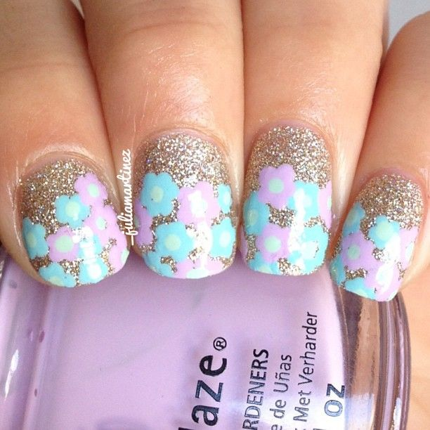Pastel flower clusters #nailart  | See more nail designs at http://www.nailsss.com/acrylic-nails-ideas/3/