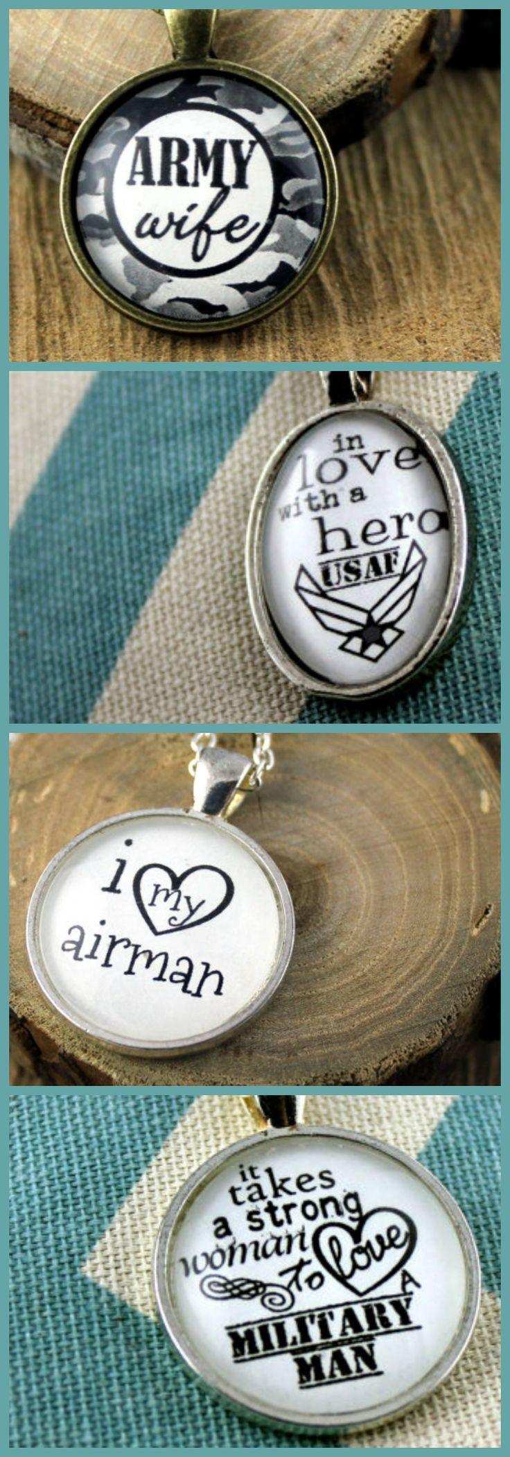 "Military Spouse or Military Wife Pendants | milspouse necklace | This darling Hymn Drop vintage inspired pendant is approx 1"" X 1"" (25mm X 25mm).  The fitted glass overlay helps this Hymn Drop shine brightly and adds the perfect weight.  Antique style chain included is 24 inches. Four military branches available #ad"