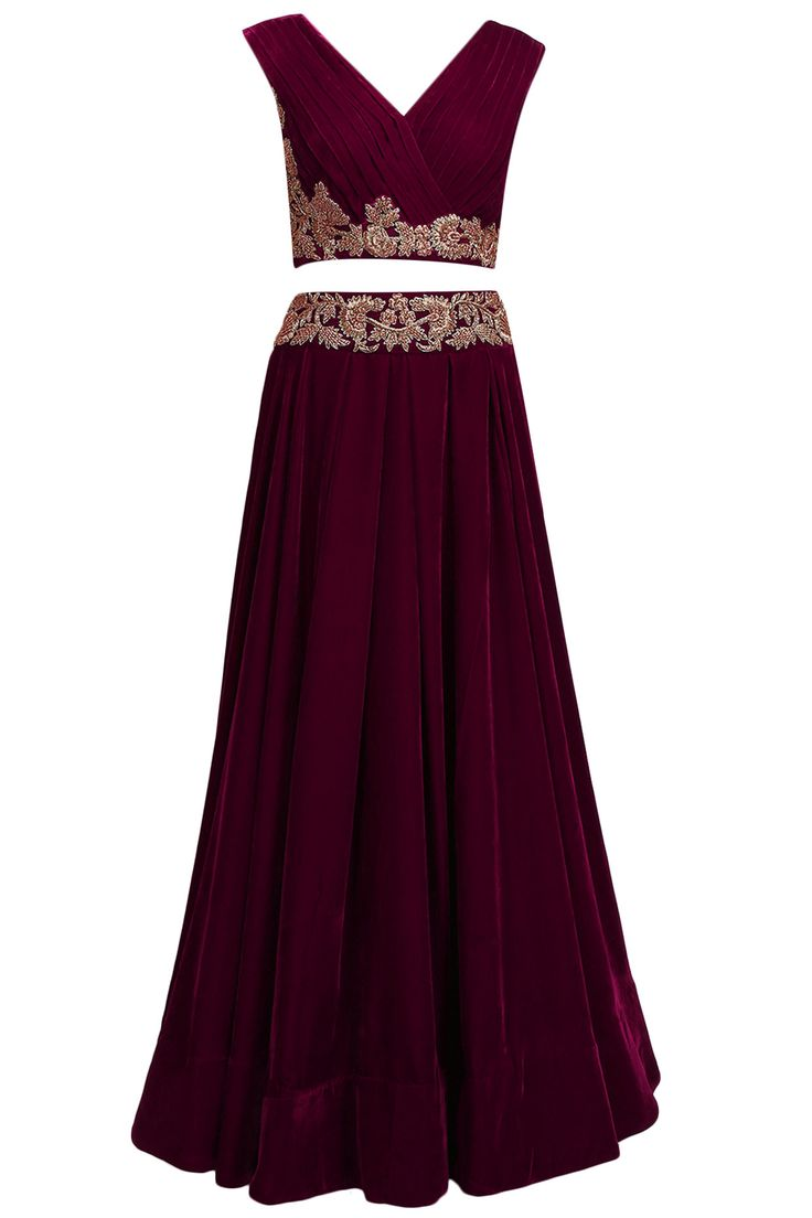 Wine dabka and zardozi embroidered crop top and skirt set available only at Pernia's Pop Up Shop.