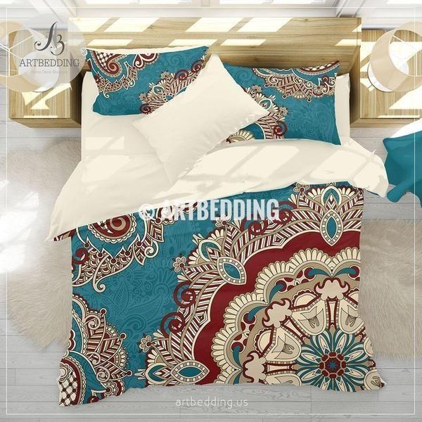 Boho bedding, Teal and red Mandala bedding, Teal red paisley mandala comforter set, bohemian bedroom decor