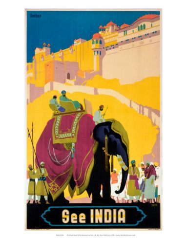 Travel is my passion in life.  So in the category of graphic design, I am particularly drawn to travel posters.  This poster advertising travel to India draws me in because of the delightful combination of colors.  I love the large blocks of cheerful color.  This is:  Vintage Travel Poster.