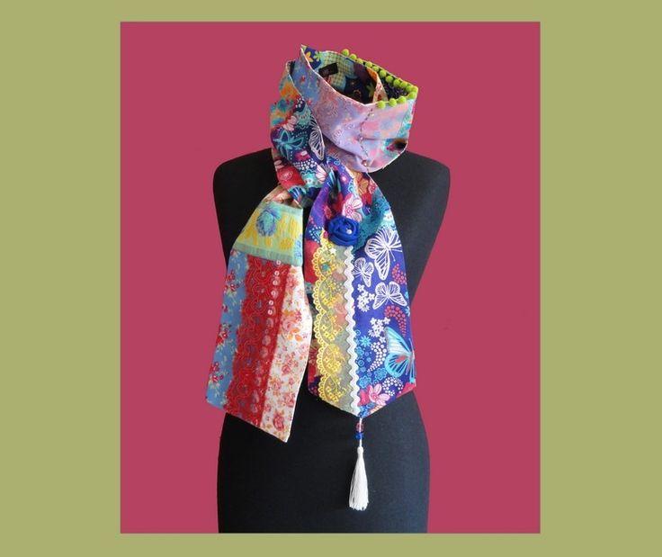 "Echarpe/ Foulard boheme chic ""Bergamote"" : Echarpe, foulard, cravate par ps-cendrillon"