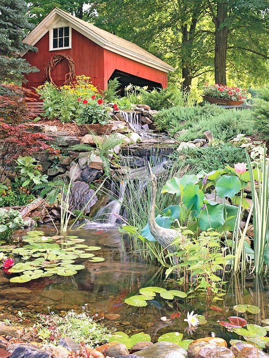 Although a formal water feature would feel out of place in a rustic setting, this inviting pond looks like a natural extension of the landscape: http://www.bhg.com/gardening/landscaping-projects/water-gardens/dream-water-gardens/?socsrc=bhgpin032514countrycasual&page=17