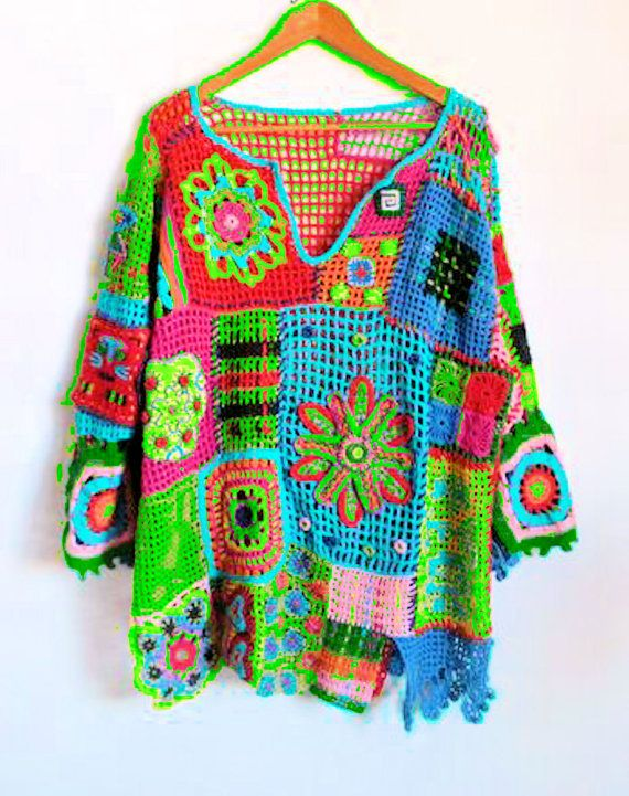 Crochet Free Form Squares and Flowers Top  Made to Order