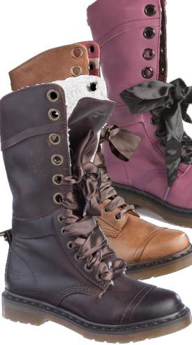 Dr Martens Triumph 1914 Boot i want every color. The ribbon is a cute idea. May try this soon on other shoes