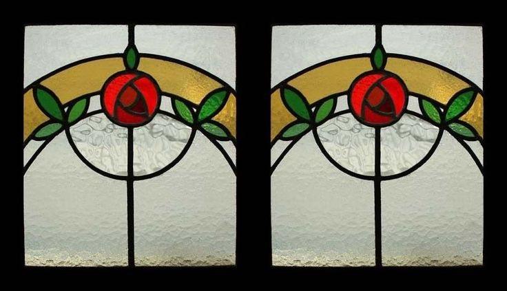 Stunning Pair Mackintosh Rose Antique Stained Glass Windows | eBay