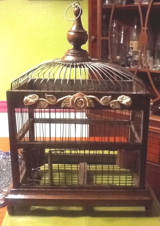 Antique wood metal wire bird cage birdcage birdhouse old for Cages a oiseaux decoratives