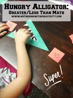 Hungry Alligator (Greater/Less Than Math): preschool, kindergarten, 1st grade, math concepts, math activities