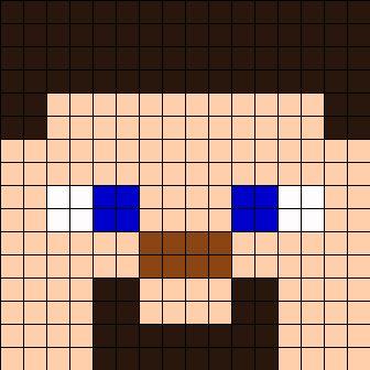 Minecraft Steve Face Perler Bead Pattern