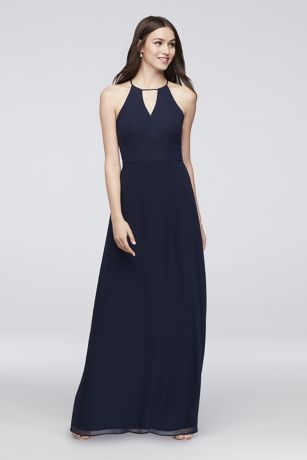 72019bcaf4bb A keyhole neckline and angular, cutaway back add chic detail to this long chiffon  bridesmaid dress. Reverie, exclusively at David's Bridal Polyester Back ...
