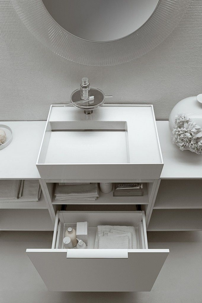 Kartell by Laufen Ambience. #Storage #WhiteBathroom #InteriorDesign @LaufenBathroom