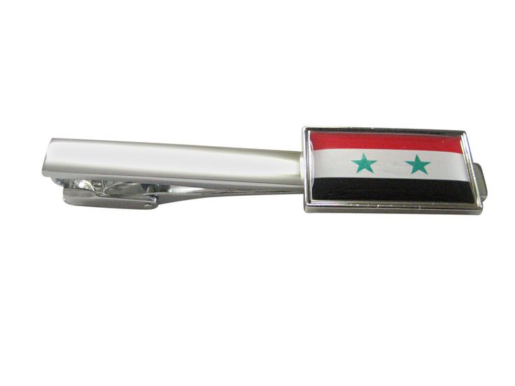 Thin Bordered Syria Flag Square Tie Clip