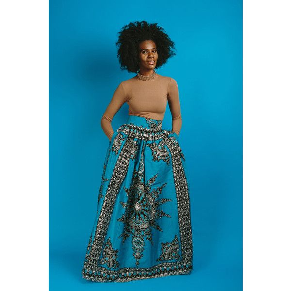 Mofe Skirt (Blue) ($100) ❤ liked on Polyvore featuring skirts, dark olive, pants, women's clothing, long ankle length skirts, long african skirts, cotton maxi skirt, cotton skirts and long skirts