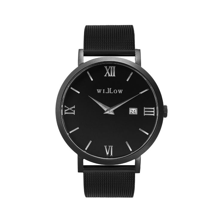 Verona Matte Black Watch & Interchangeable Black Mesh Strap.