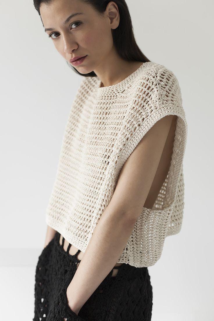 Square top, peruvian cotton, handmade, crochet, knitwear, tejidos, fibras naturales, Net SS2016, Maydi