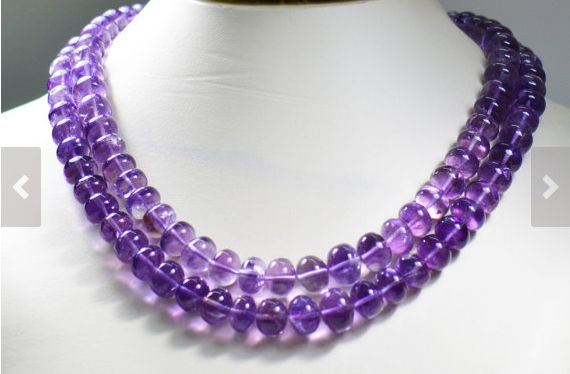 "Amethyst Gemstone Beads, 16"" String of approx 78 Beads, Brazilian Mines Amethyst Beads"